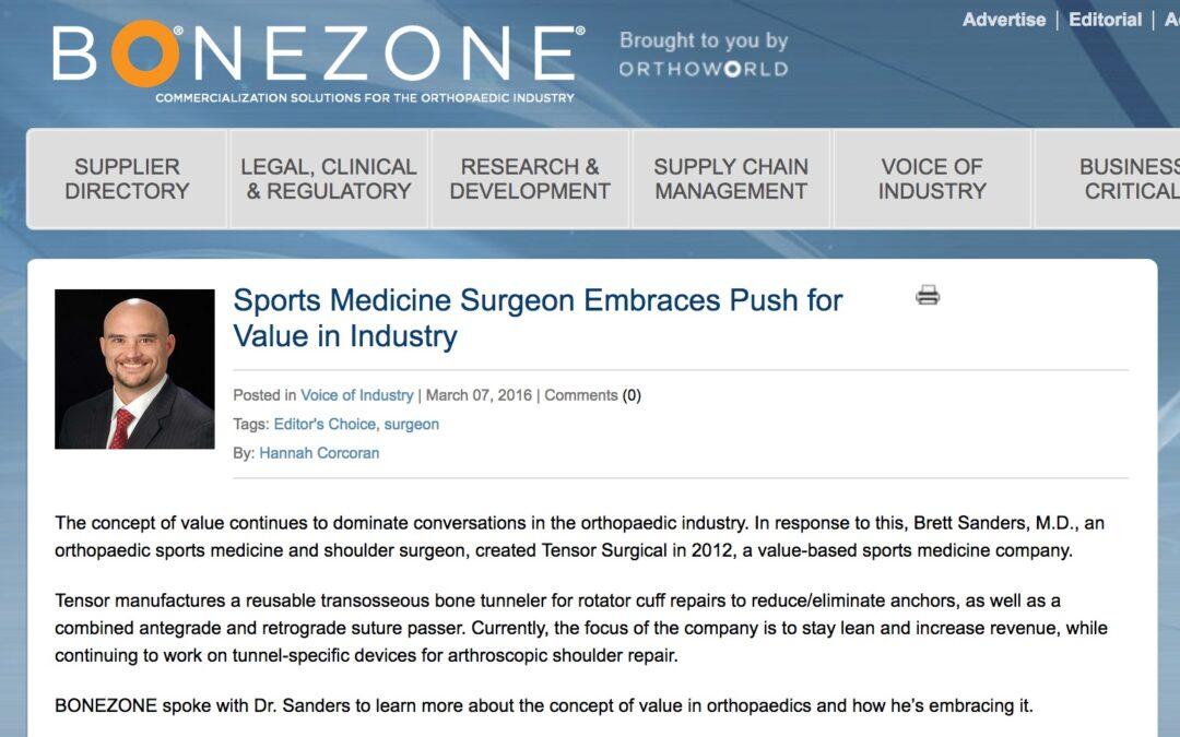 BoneZonePub: Sports Medicine Surgeon Embraces Push for Value in Industry