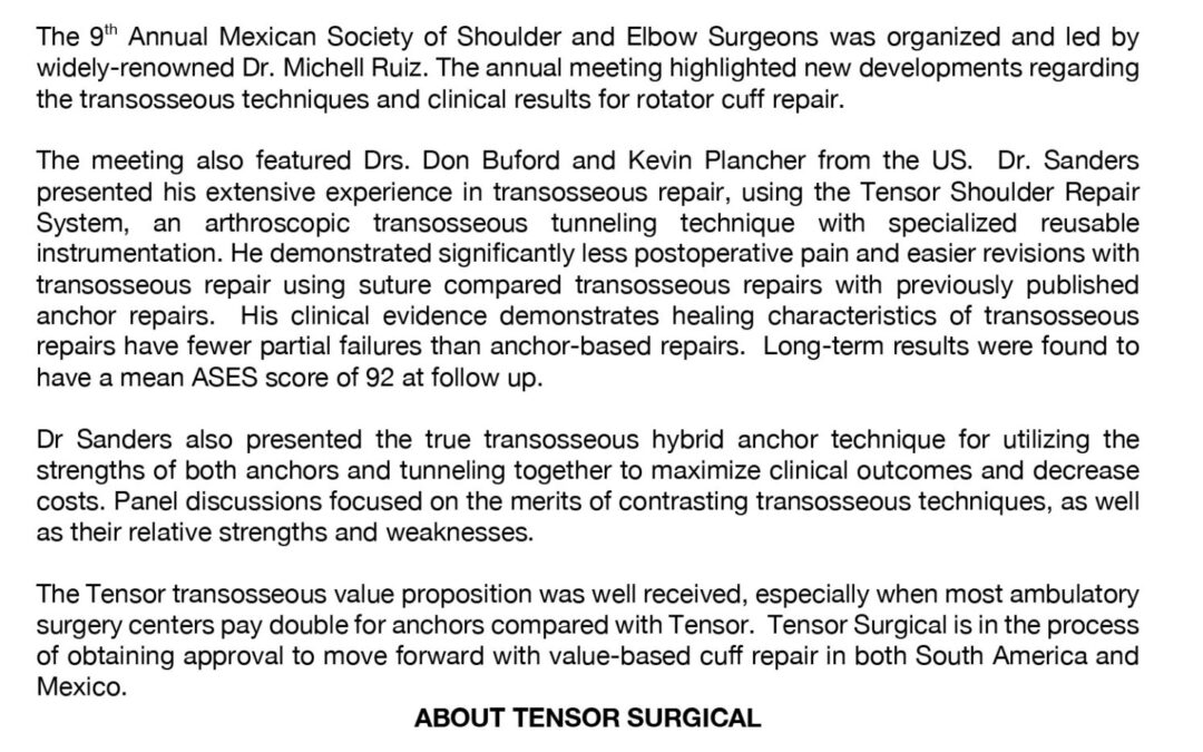 Transosseous Rotator Cuff Repair, IX Meeting of the Mexican Society of Shoulder and Elbow Surgeons. September 4-7 in Cancun, Mexico, 2019