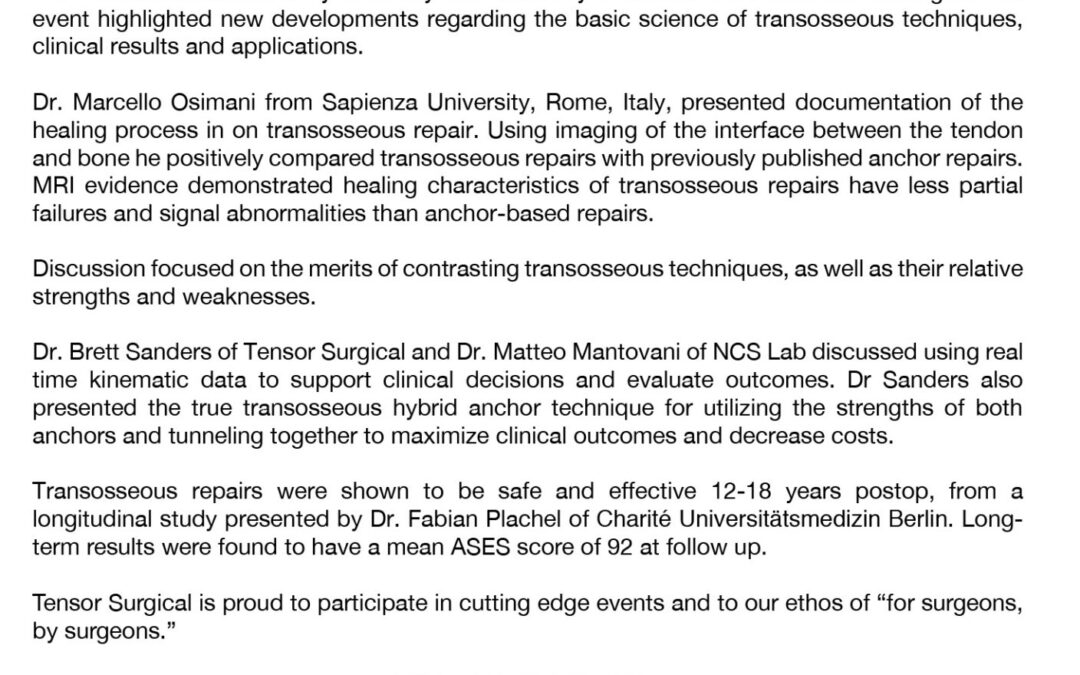 Transosseous Shoulder Repair, International Shoulder Conference in Milan, Italy, June 2019
